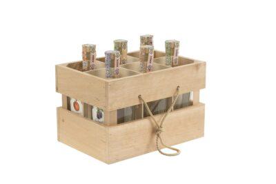 Dreveny nosic so 6 ks flias scaled 1 400x267 - 6 fľašový nosič